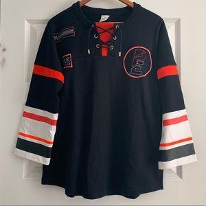 P.E NATION varsity pullover sweatshirt size large